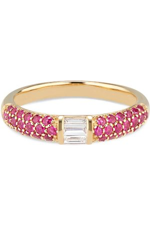 Women's Artisanal Ruby Stacked Half Eternity Band With Pave Set & Baguette Diamonds Ri Noor