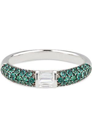 Women Rings - Women's Artisanal Green Stacked Half Eternity Band With Pave Set Emeralds & Baguette Diamonds Ri Noor