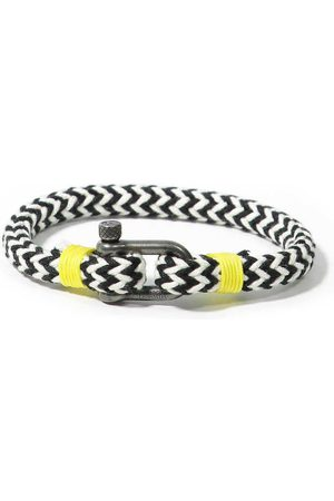 Men Bracelets - Men's Recycled Black Cotton Jaws Bracelet Panareha