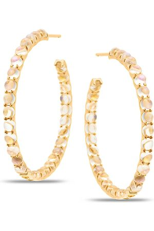 Women Hoop - Women's Low-Impact Rose Gold Rainbow Moonstone Hoop Round Earring Tresor Collection