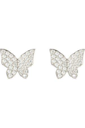 Women's Artisanal Silver Rhodium Butterfly Stud Earring LATELITA