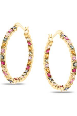 Women Hoop - Women's Low-Impact Rose Gold Multicolor Stones Square Hoop Earring Tresor Collection