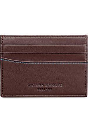 Men Wallets - Men's Vegan Brown Leather Slim Card Wallet Watson & Wolfe