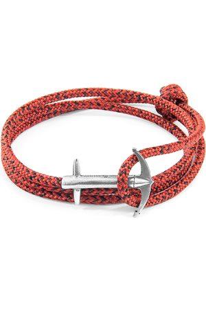 Men's Artisanal Silver Red Noir Admiral Anchor & Rope Bracelet ANCHOR & CREW
