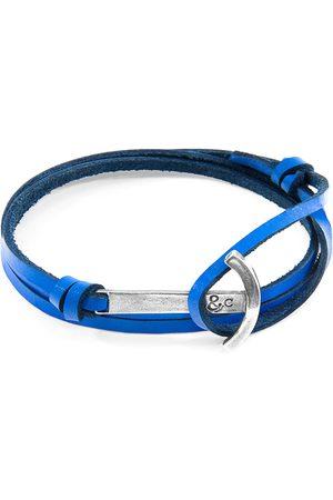 Men Bracelets - Men's Artisanal Royal Blue Leather Clipper Anchor Flat & Silver Bracelet ANCHOR & CREW