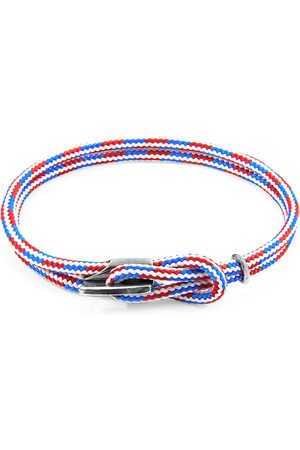 Men Bracelets - Men's Artisanal Blue Project-Rwb Red White & Padstow Silver & Rope Bracelet (M) ANCHOR & CREW