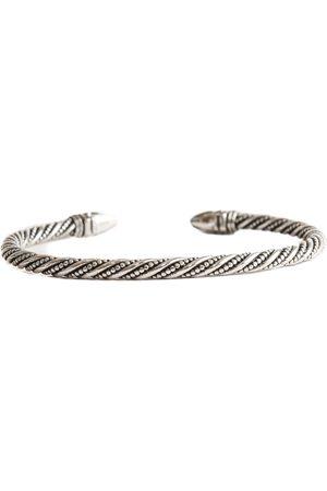 Men Bracelets - Men's Silver Spiked Detailed Bangle Serge DeNimes