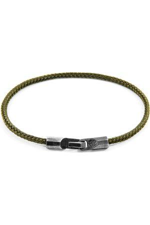 Anchor & Crew Men Bracelets - Khaki Green Talbot Silver & Rope Bracelet