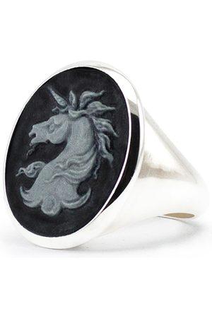 Men Rings - Men's Artisanal Silver Unicorn Cameo Signet Ring Vintouch Italy