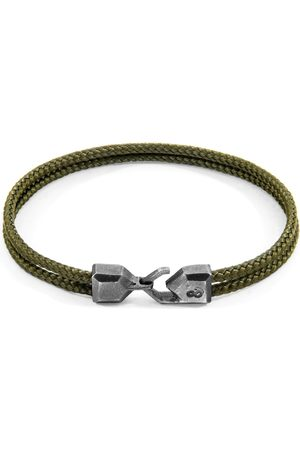 Anchor & Crew Khaki Green Cromer Silver & Rope Bracelet