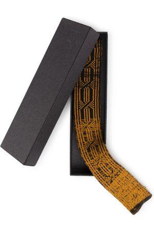 Men Neckties - Men's Artisanal Gold Cotton Elements Knitted Tie - Wood STUDIO MYR