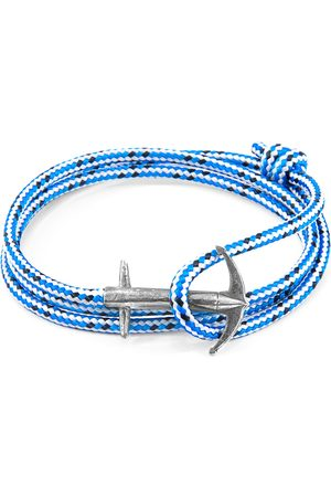 Men Bracelets - Men's Artisanal Blue Dash Admiral Anchor Silver & Rope Bracelet (Charity Bracelet Big Ocean Cleanup) ANCHOR & CREW