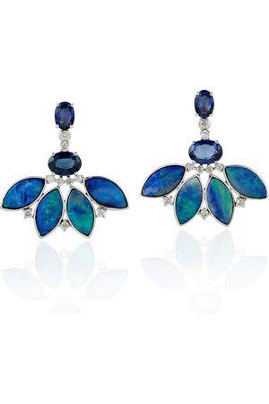 Women Studs - Women's Artisanal Blue 18K Solid White Gold Diamond Leaf Shape Stud Earrings Opal Doublet Sapphire Jewelry
