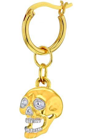 Women Hoop - Women's 18kt Gold -Plated 2 Tone Mini Skull Earring On Hoop True Rocks