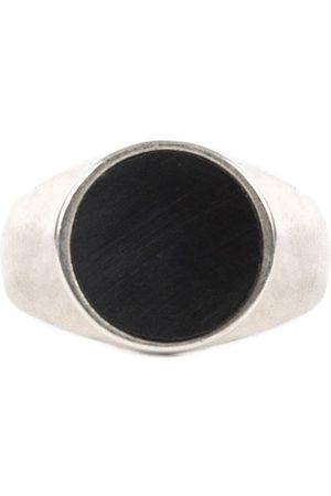 Men Rings - Men's Black Velvet Silver Orb Ring Serge DeNimes