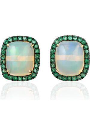 Women's Artisanal 18kt Gold Natural Emerald Opal Ethiopian Stud Earrings Jewelry