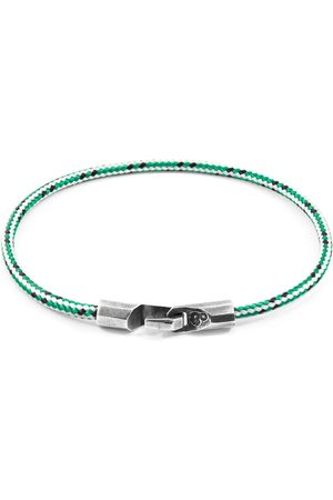Anchor & Crew Green Dash Talbot Silver & Rope Bracelet (CHARITY BRACELET One Tree Planted)