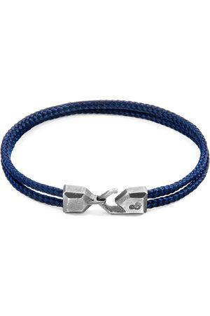 Anchor & Crew Navy Blue Cromer Silver & Rope Bracelet