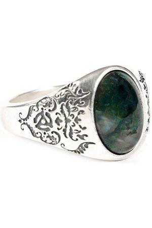 Men Rings - Men's Silver Velvet Damask Stone Ring Serge DeNimes