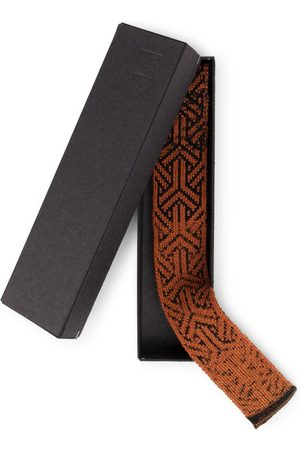 STUDIO MYR Men Neckties - Knitted Cotton Tie In Classic Colours And Geometrical Patterns Elements - Rust