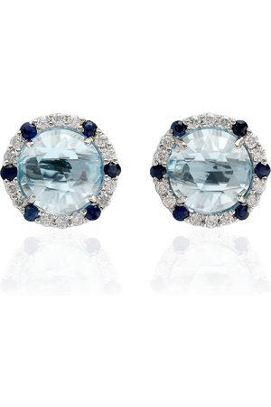 Women Studs - Women's Artisanal Blue 18Kt White Gold Sapphire Topaz Round Shape Stud Earrings