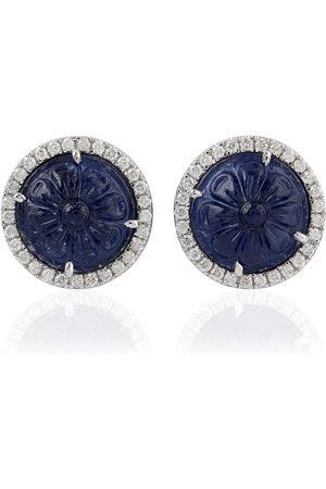 Women's Artisanal Blue 18Kt Solid White Gold Carving Sapphire Stud Earrings
