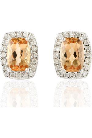 Women Studs - Women's Artisanal White 18Kt Gold Diamond Topaz Imperial Stud Earrings Jewelry