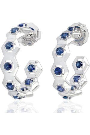 Women Hoop - Women's Artisanal Blue 18Kt Solid White Gold Sapphire Hoop Earrings
