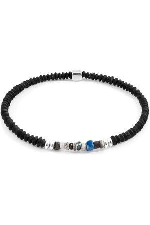 Men's Artisanal Silver Multicoloured Djenne Nila Glass Paralana & Stone Bracelet ANCHOR & CREW