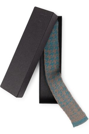 STUDIO MYR Men Neckties - Knitted Cotton Tie In Classic Colours And Geometrical Patterns Elements - Teal.