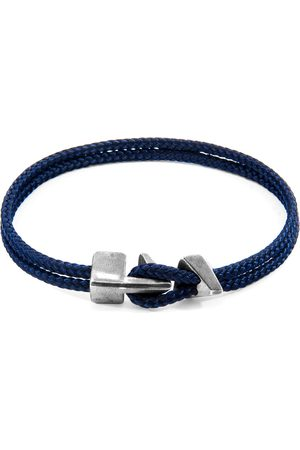 Anchor & Crew Men Bracelets - Navy Blue Brixham Silver & Rope Bracelet