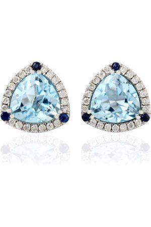 Women Studs - Women's Artisanal Blue 18kt Gold Sapphire Topaz Stud Earrings Jewelry