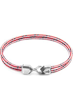 Anchor & Crew Red Dash Cromer Silver & Rope Bracelet (CHARITY BRACELET End Youth Homelessness)