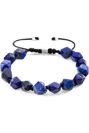 Men's Artisanal Lapis Cotton Blue Lazuli Zebedee Silver & Stone Beaded Macrame Bracelet ANCHOR & CREW