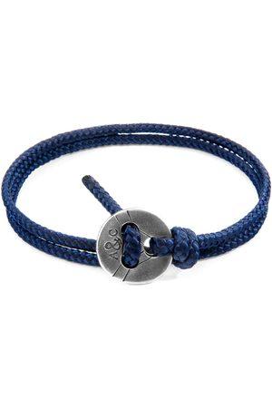 Men Bracelets - Men's Artisanal Navy Blue Lerwick Silver & Rope Bracelet ANCHOR & CREW