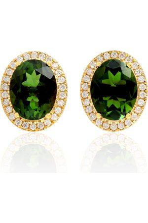 Women Studs - Women's Artisanal 18kt Gold Tourmaline Pave Diamond Designer Stud Earrings