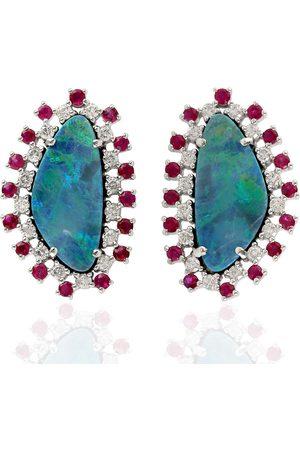 Women Studs - Women's Artisanal Gold Natural Gemstone 18Kt Opal Doublet Ruby Genuine Diamond Stud Earrings