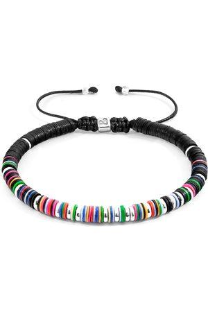 Men Bracelets - Men's Artisanal Silver Cotton Multicoloured Kariba & Vinyl Disc Macrame Bracelet ANCHOR & CREW