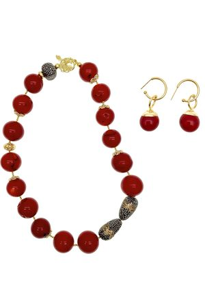 Women Necklaces - Women's Red Brass Nugget Bamboo Necklace & Earrings Christmas Gift Set Farra