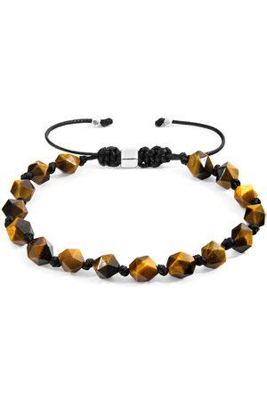 Men Bracelets - Men's Artisanal Silver Cotton Brown Tigers Eye Zebedee & Stone Beaded Macrame Bracelet ANCHOR & CREW