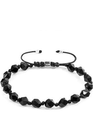 Men Bracelets - Men's Artisanal Black Cotton Agate Zebedee Silver & Stone Beaded Macrame Bracelet ANCHOR & CREW