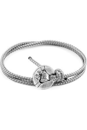 Men Bracelets - Men's Artisanal Grey Classic Lerwick Silver & Rope Bracelet ANCHOR & CREW