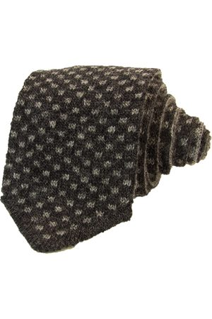 Men Neckties - Men's Artisanal Grey Wool Charcoal & Squares Reversible Knitted Tie Small 40 Colori