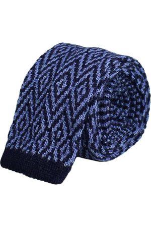 Men's Artisanal Blue Wool Jeans Diamonds Jacquard Knitted Tie 40 Colori