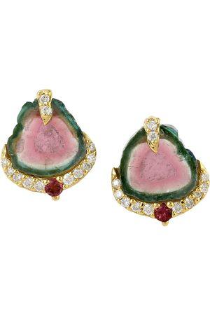 Women Studs - Women's Artisanal Rose Gold 18Kt Yellow Gold Genuine Diamond Melon Tourmaline Stud Earrings Jewelry