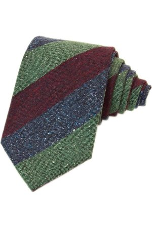 Men Neckties - Men's Artisanal Burgundy Silk Three Toned Striped & Wool Tie 40 Colori