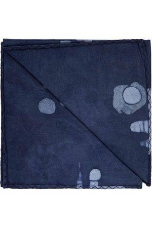 Men Pocket Squares - Men's Navy Blue Cotton Regent African Print Pocket Square With Leather Label N'Damus London