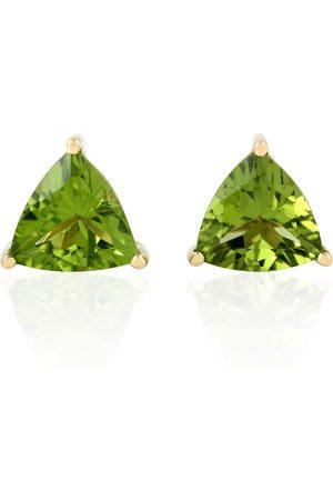 Women Studs - Women's Artisanal Solid Gold 18Kt Triangle Shape Stud Earring Peridot Stone Handmade Jewelry