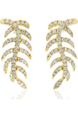 Women Studs - Women's Artisanal Rose Gold 18Kt Yellow Gold Pave Diamond Leaf Design Stud Earrings