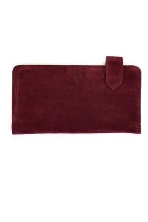 Men Wallets - Men's Artisanal Burgundy Leather Fluctus Suede Wallet Hiva Atelier